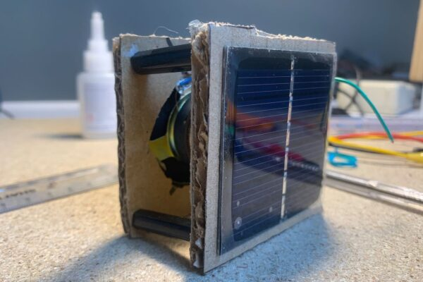 A very early prototype exploring different form factors of a speaker and solar panel.